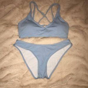 shein light blue bikini set